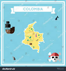 Map Of Colombia Flat Treasure Map Colombia Colorful Cartoon Stock Vector 369194948