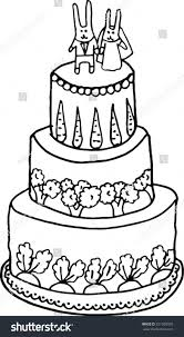 rabbits wedding cake handdrawn illustration stock vector 251509933