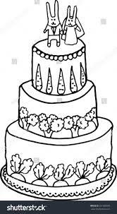 rabbits wedding cake handdrawn illustration stock vector 251509933