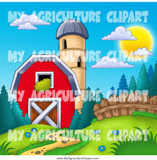 A Cartoon Barn Cartoon Agriculture Clipart Of A Silo Granary And A Red Barn By