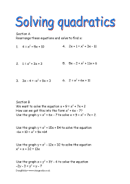 quadratic equations free worksheets powerpoints and other