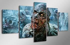 5 Pcs With Framed HD Printed the walking dead zombies Painting