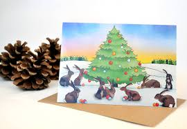 bunny rabbit christmas card by ceridwen hazelchild design