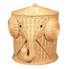 elephant wicker laundry hamper woven basket clothes bin with lid