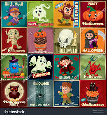 halloween background images for flyers with kids vintage halloween poster design set kids stock vector 225865579