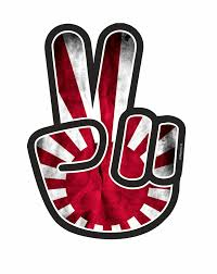 jdm mitsubishi logo hippy style peace hand with jdm style rising sun flag motif