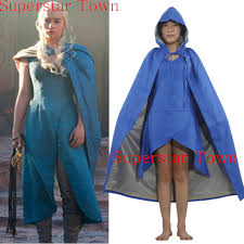 Game Thrones Halloween Costumes Daenerys Film Game Thrones Daenerys Targaryen Cosplay Costume Blue Dress