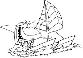 shark sailing a sailboat coloring page royalty free clipart picture