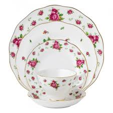 new country roses white vintage 5 place setting royal