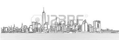 new york panorama with brooklyn bridge vector outline sketch