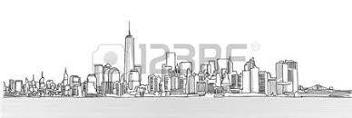 new york city skyline firework sketch hand drawn outline artwork