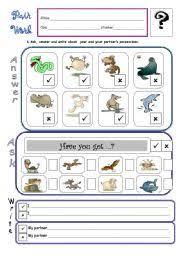 worksheet verb have got pair work b