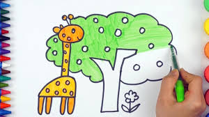 teach draw and coloring animals giraffe simple examples of