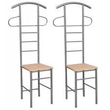 valet de chambre en bois 2pcs chaises valet de chambre en bois et métal support de vêtement