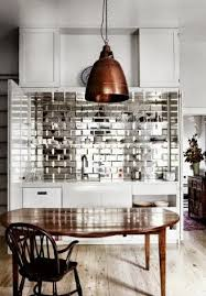 copper backsplash tiles kitchen surfaces pinterest cool mirror tile splash with big copper pendant and warm wood