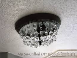 Crystal Flush Mount Lighting Remodelaholic Update A Dome Ceiling Light With Faceted Crystals