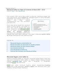 membuat daftar isi table of contents di word 2007 cara membuat daftar isi otomatis