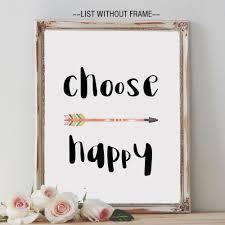 choose happy quote arrow wall hanging art print nursery kids room