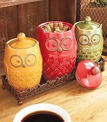4 whimsical ceramic owl canister metal tray