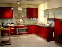 Red Colour Kitchen - red paint for kitchen cabinets