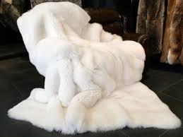 Faux Fox Fur Throw Saga Royal Shadow Fox Fur Blanket White