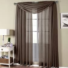 abri chocolate rod pocket crushed sheer curtain panel sheer