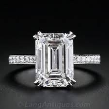 engagement rings emerald cut 4 00 carat emerald cut diamond engagement ring g si1