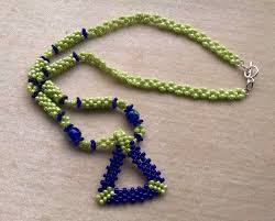 blue beaded necklace images Lime green navy blue bead woven triangle pendant on beaded bead jpeg