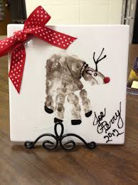 reindeer handprint on tile christmas crafts pinterest