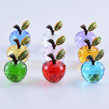 Personalized Paper Weight Gifts 40mm Lake Blue Crystal Apple Paperweight Art Glass Fruit