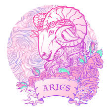 zodiac sign of aries with a decorative frame roses astrology