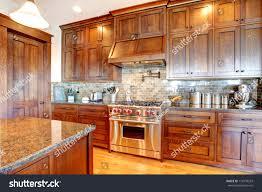 Designs Of Kitchens In Interior Designing Luxury Pine Wood Beautiful Custom Kitchen Stock Photo 110334293