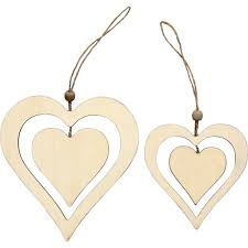 scandinavian double wooden hearts christmas tree decorations set