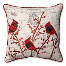 holiday plaid throw pillow 17inch square 100percent polyester