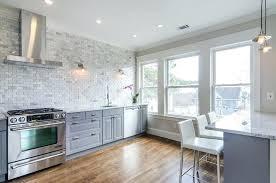 brick tile kitchen backsplash brick tile backsplash gray kitchen cabinets with marble mini brick