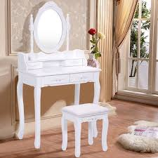Vanity With Stool Costway White Vanity Wood Makeup Dressing Table Stool Set Bedroom