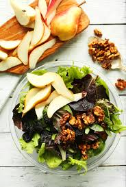 easy thanksgiving salads pear balsamic salad minimalist baker recipes