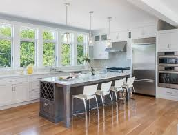 gray used effectively in a beach style kitchen design with an
