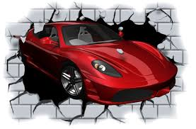wall stickers sports cars color the walls of your house wall stickers sports cars huge 3d sports car crashing through wall view wall sticker mural