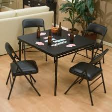 cosco products 5 piece folding table and chair set black 5 piece xl folding card table set black
