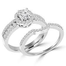 bridal set 2 1 4 ctw diamond halo engagement ring wedding band bridal