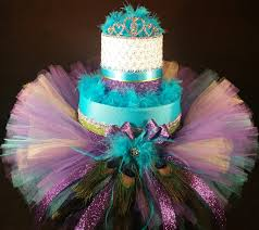 peacock baby shower 2 tier purple and teal peacock cake w tutu skirt