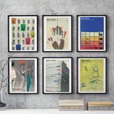 graphic design home decor retro midcentury bauhaus german 6 piece wall art colorful graphic