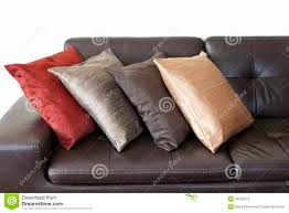 Leather Sofa With Pillows by Cushions On Leather Sofa Stock Photos Image 34236613