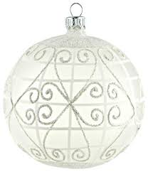 large glass ornament with white lattice contemporary