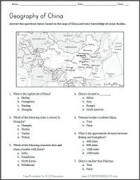 map of china geography worksheet student handouts