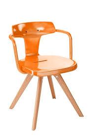 chaise potiron chaise t14 de tolix inox et bois laqué brillant potiron