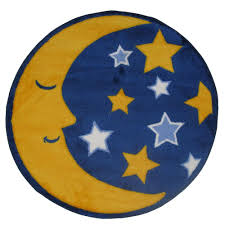Yellow Round Area Rugs La Rug Fun Time Shape Moon U0026 Stars Yellow Blue And White 31 In