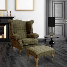 High Back Armchair Buy Wool Chesterfield Wing Chair In Grey Tartan Online
