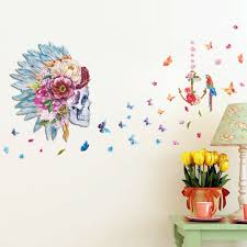 aliexpress com buy 067 indian fashion girl flower skull head aliexpress com buy 067 indian fashion girl flower skull head pvc wall sticker butterfly parrot birds living room home decor bedroom wall art decal from